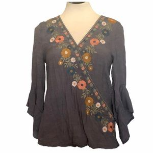 entro Embroidered Wrap Front Blouse